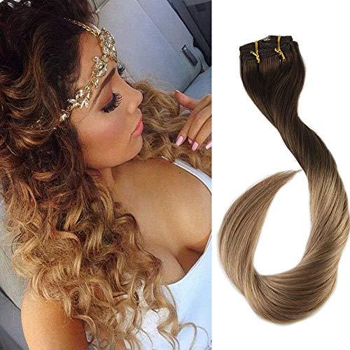 Easyouth Klip in Extensions Echthaar Farbe #4T27 Dunkelbraun bis Honigblond 22 Zoll 100g 7 Stücke Remy Haar Extensions Echthaar Real Hair Extensions