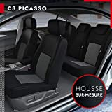 DBS - Housses de siège sur Mesure pour C3 Picasso (03/2009 à 2021) | Housse Voiture/Auto d'intérieur | Haut de Gamme | Jeu Complet en Tissu | Montage Rapide