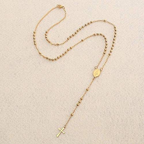 Gepersonaliseerde accessoires, Kettingen, roestvrij staal zwart goud kraal rozenkrans ketting Jezus Christus kruis hanger katholiek religieus gebed sieraden vrouwen ketting, Thumby Gold One