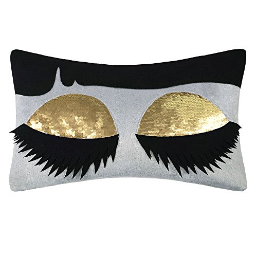 King Rose Long Eyelashes Gold Sequins Decorative Throw Pillow Case Rectangle Cushion Cover for Bed Living Room 12 x 18 Inches
