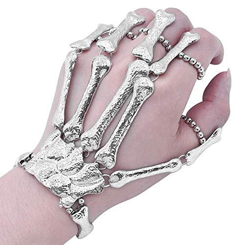 JiuRong Pulsera de Mano de Hueso de Esqueleto gótico de Halloween Finger Bracelet para la decoración del Partido