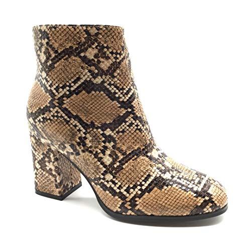 Angkorly - Damen Schuhe Stiefeletten Stiefel - Biker - Low - Sexy - Tierdruck Animal-Print - Pythonschlangenhauteffekt - Waage Blockabsatz high Heel 7 cm - Beige FR366 T 38