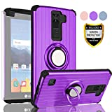 AYMECL LG K8 V Phone Case,LG K8V Case,LG VS500 Case,LG K8V 2016(Verizon) Case with HD Screen Protector,360 Degree Rotating Ring Holder Travel Case Scratchproof Cover for LG K8V-SH Purple