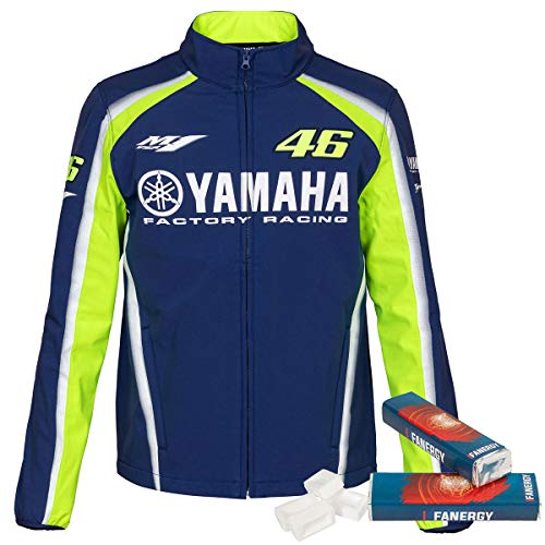 Valentino Rossi Softshell Jacke Yamaha 2018 blau + 2X FANERGY Traubenzucker (XL)