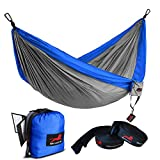 HONEST OUTFITTERS Single Camping Hammock with Basic Hammock Tree Straps,Portable Parachute Nylon Hammock for Backpacking Travel Royal/Grey 55' W x 108' L