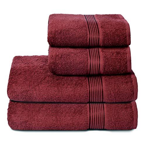 GLAMBURG Set di 4 Asciugamani Ultra Morbidi, in Cotone, Contiene 2 Asciugamani da Bagno Oversize 70 x 140 cm, 2 Asciugamani 50 x 90 cm, per Uso Quotidiano, compatti e Leggeri, Colore: Rosso Bordeaux