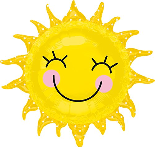 Amscan 2451901 Sunshine Sun Folienballon lachende Sonne, Nicht zutreffend, mehrfarbig