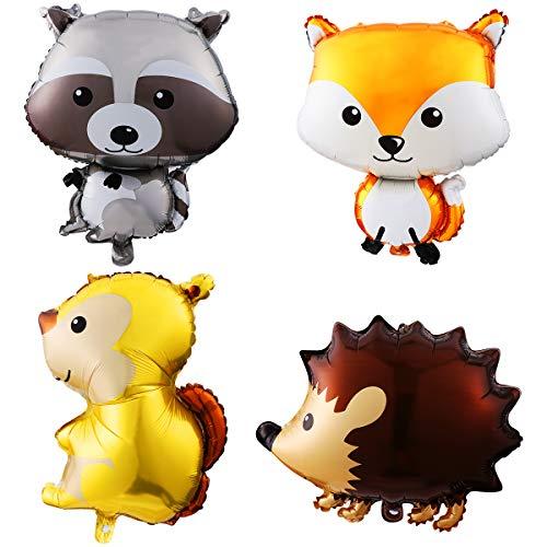 Amosfun 4 STÜCKE Tier Ballon Kinder aluminiumfolie Ballon Cartoon Partei liefert (Igel + Fuchs + waschbär + eichhörnchen)