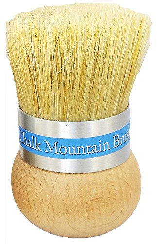 Chalk Mountain Brushes Original Design Palm Wax Chalk Furniture Paint Upholstery and Stencil Boar Hair Brush. Ergonomic Design which is Easy on Arthritic Hands and Aluminum Ferrule no Rusting