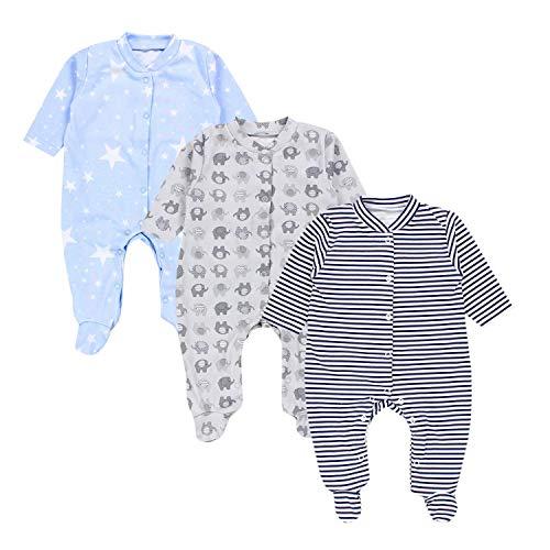 TupTam Baby Jungen Schlafstrampler mit Fuß 3er Pack, Farbe: Farbenmix 3, Größe: 74