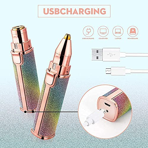 HNESS Portable eyebrow trimmer for women, epilator for women, facial hair remover for women,Face, Lips, Nose Hair Removal Electric Trimmer with Light - (Multicolor) [One Trimmer with two attachments]