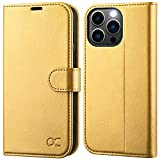 OCASE iPhone 13 Pro Max Hülle Handyhülle [Premium PU Leder] [Kartenfach] [Magnetverschluss] Tasche Klapphülle RFID Schutzhülle Lederhülle Flip Hülle Cover Kompatibel für iPhone 13 Pro Max Gold