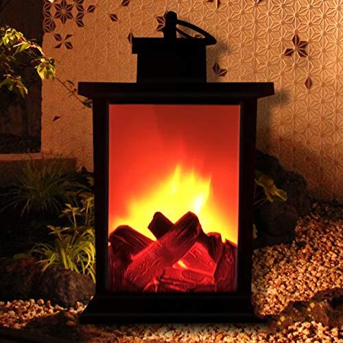 DRHLOOW Linterna de Chimenea Artificial Chimenea eléctrica Independiente portátil Adornos de Fuego de leña con Efecto de Llama LED Decoración del hogar de la Estufa eléctrica Colgante con Pilas