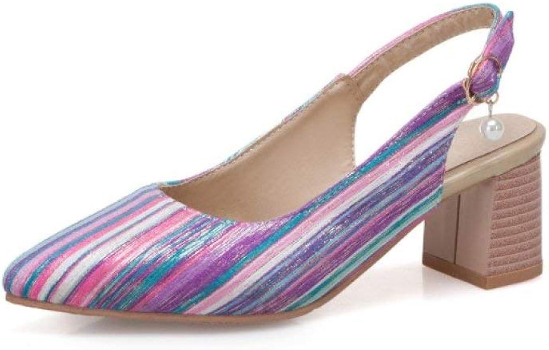 MEIZOKEN Women's Pointed Toe Block Heels Sandal Sexy Striped Ankle Strap Slingback Chunky Heel Mule Sandals