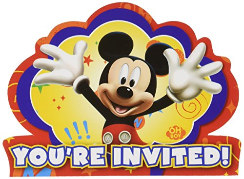 "Amscan Disney Mickey Mouse Birthday Party Postcard Invitation Kit, Pack of 8 4 X 5 Paper Childrens, Red/Blue/Yellow, 4 1/4"" X 5 7/9"""