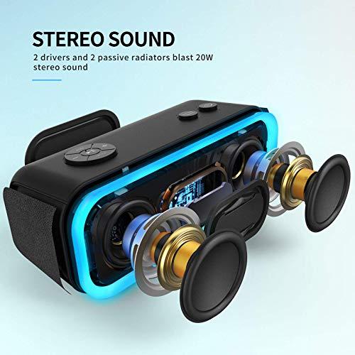 DOSS SoundBox Pro Altavoz Bluetooth Portátiles con 360° Sonido, Mejorado Bass, Pareado Estéreo, Múltiple LED, IPX5 Impermeable, 12 Horas de Emisión Continua Manos Libre - Negro