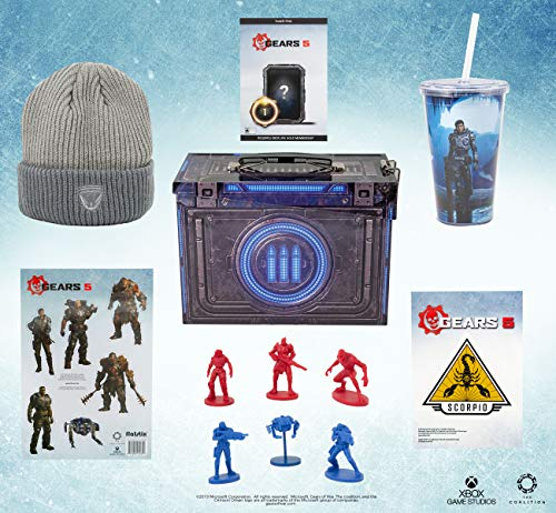 Toynk Gears of War 5 Video Game Collectors Edition Looksee Ammo Tin with Grey Beanie, Action Figures and Exclusive DLC Content