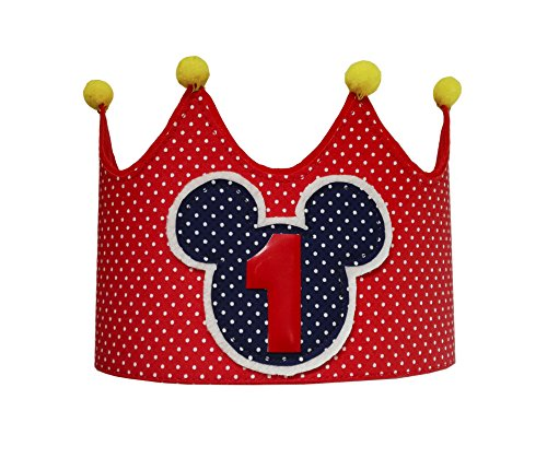 Kembilove Corona Primer Cumpleaños de Mickey para Bebe – Corona Infantil tela de Mickey para Cumpleaños – Corona Cumpleaños Infantil – Corona Primer Cumpleaños Mickey para Niño y Niña