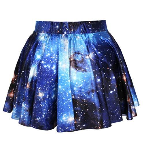 kiss me Frauen Teen 3D Digital Hohe Taille Mini Rock Sternenhimmel A Linie Rock Galaxy Mini Kleid Stretch Faltenrock Gr. Einheitsgröße, Blue Galaxy