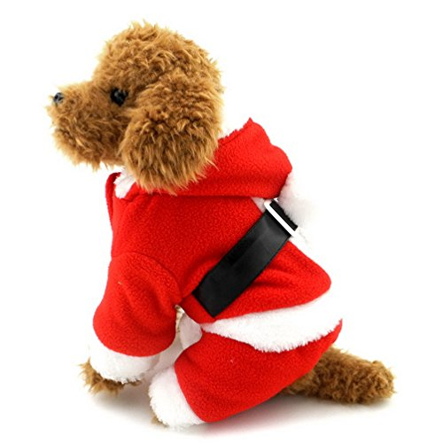 Selmai Dog Costume Père Noël en polaire Manteau pour Petit Animal de Noël tenues Rouge