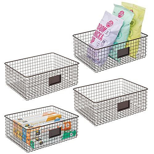 mDesign 4er-Set Allzweckkorb aus Metall – Aufbewahrungskorb mit Beschriftungsfeld für Küche, Vorratskammer etc. – kompakter und universeller Drahtkorb – bronzefarben