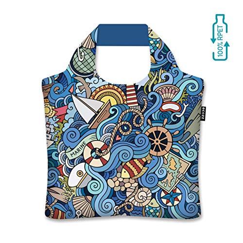 Ecozz Maritime by Olga Kotenko, opvouwbaar, boodschappen tas met ritssluiting, draagtas, handtas, strandtas, winkeltas, tote, shopper, wasbaar, milieuvriendelijk, herbruikbaar, rPET