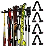 Odoland 4 Ski Slatwall Hooks Wall Storage Rack with 4 Ski Strap Carrier, 2 Pairs of Snowboard Rack Wall Mount, Home and Garage Heavy Duty Storage Hanger