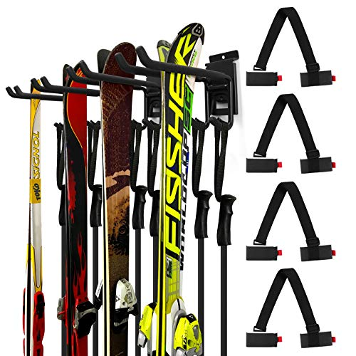 Odoland Skihalter Wandhalterung Rack mit 4 Skibandträger 2 Paar Snowboard Rack Wandhalterung Hause und Garage Heavy Duty Storage Hanger