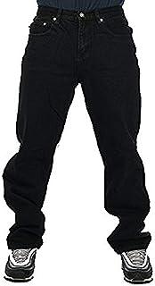 Georgia Peviani Mens Black Jeans, Straight fit bar Rock g Plain Basic Premium Weight Trousers, Star wash Pants Made