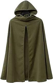 Kearia Womens Casual Hooded Split Front Poncho Cape Cloak Trench Coat Outwear