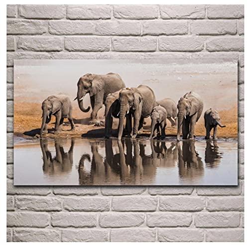 Elefante moviéndose hacia el Sur Elefantes por la Orilla del Agua Ilustraciones de Animales Salvajes Fondos de Pantalla Obra de Arte Imagen clásica |Cuadro sobre Lienzo para Pared 60x80 cm sin Marco