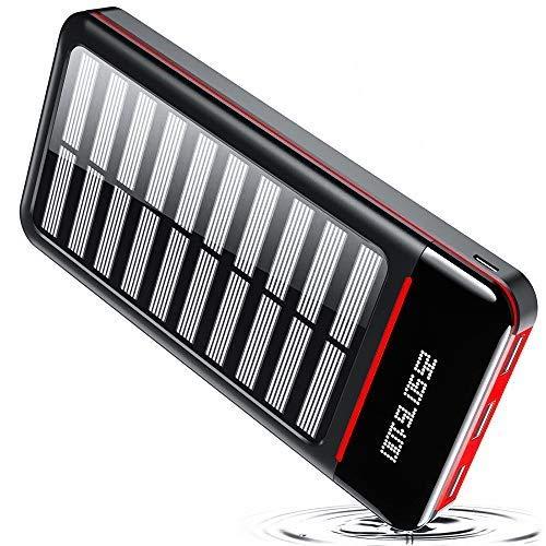 TSSIBE Powerbank - Cargador solar portátil (25.000 mAh, con puertos de entrada dual y 3 salidas USB, pantalla digital, batería externa de gran capacidad), color rojo