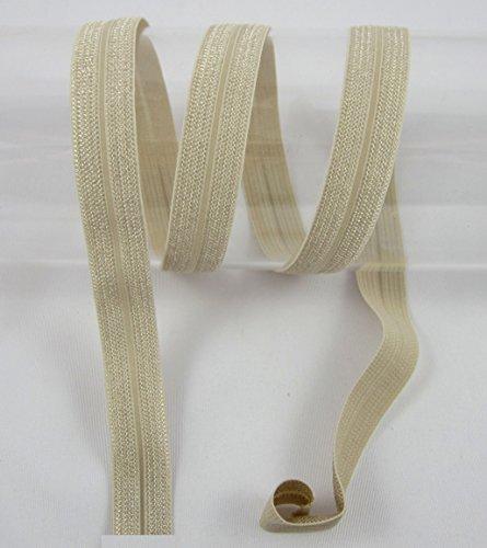 Schrägband elastisch, Falzband, 20/10mm, Kantenband, Gummi, nähen, Meterware, 1 Meter (Creme)