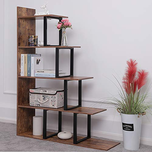 "IWELL 5-Tier Large Ladder Bookshelf, 40.7""L x 11.8""W x 62.9""H Ladder Shelf, Storage Rack Shelves, Corner Display Shelves for Living Room, Home Office, Rustic Brown"