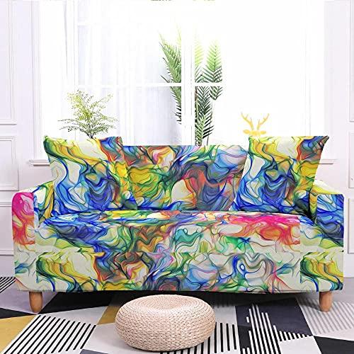 Fundas Sofa Elasticas 2 Plazas 145-185 Cm,Fundas de Sofa Ajustables Antideslizante Decorativas Protector Sofa de Muebles con 2 Funda de Almohada - Floración Amarillo Púrpura