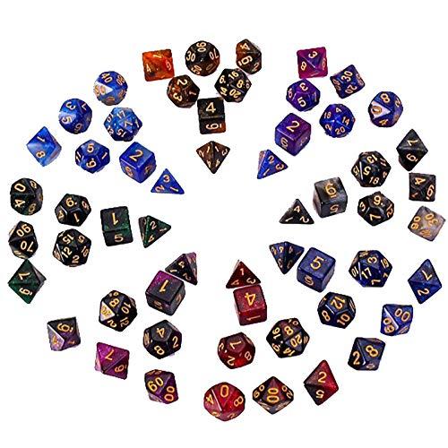 LIUXING-Home Würfelset Numberspiel oder Unterhaltung Würfel Set (8 Sätze) Sternenhimmel 2-farbig Multi-Face-Würfel-Set Magische Tischspiele (Color : Color a, Size : 16mm)