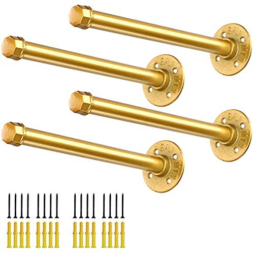 Soportes para Estanterías, 25cm Soporte Estanteria de Metal de Pared Decorativo Estilo Industrial Retro Estante Flotante Baldas Flotantes Dorado (4Pcs)