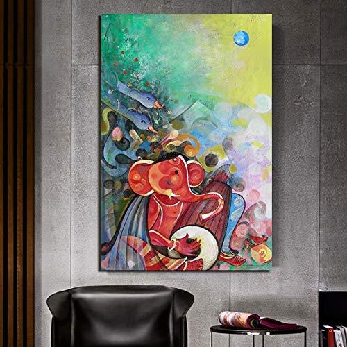 AQgyuh Puzzle 1000 Piezas Ganesha Pintura Cuadro de Arte Moderno Puzzle 1000 Piezas educa Rompecabezas de Juguete de descompresión intelectual50x75cm(20x30inch)