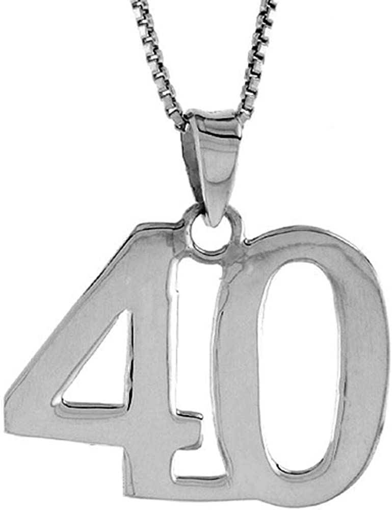 Sterling Silver Number 40 倉庫 Necklace Recovery 10%OFF for Numbers Jersey