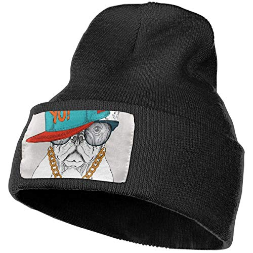 AEMAPE Póster, diseño de perro con sombrero de hip hop, gorro de punto suave, gorro de punto cálido, gorro para hombres y mujeres