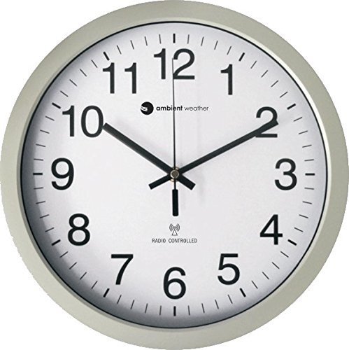 """Ambient Weather RC-1200WS 12"""" Atomic Radio Controlled Wall Clock, White/Silver"""