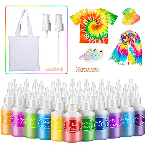 AIRCOVER Tie Dye Kit, 32 Färbe Tie Dye Set Kit für Kinder, Erwachsene und Gruppen, 268er Pack All-in-1 Stoff Tie Dye Kit mit Sprühdüsen für Textile Craft Arts Shirt Segeltuchschuhe DIY Partyzubehör