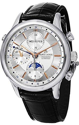Maurice Lacroix Les Classiques CHRONOGRAPHE Phases de Lune Hombres de plata Dial Automático Swiss Made reloj LC6078-SS001–131