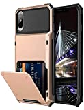 Vofolen Case for iPhone XS Case iPhone X Case Wallet ID Slot Credit Card Holder Scratch Resistant Dual Layer Protective Bumper Rugged TPU Rubber Armor Hard Shell Cover for iPhone X XS 10 10S Rose Gold