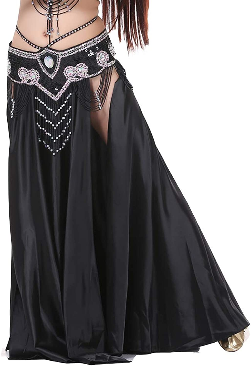 SHOWYOU 37.8 (96cm) Professional and Sexy Dress Double Forktailed Double Split Satin Belly Dance Skirt