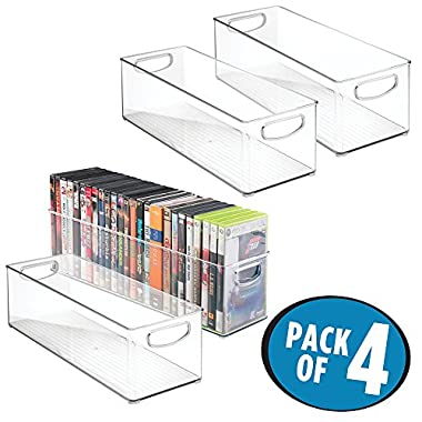 mDesign Household Storage Bin for DVDs, PS4 and Xbox Video Games - Pack of 4, Large, Clear