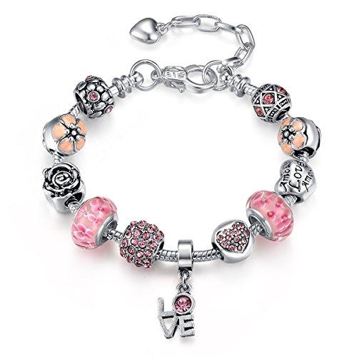 Presentski Ajustable Rosa Murano Cristal Bead Rosa Flor Amor Heart Plata Plateada Serpiente Cadena Pulsera
