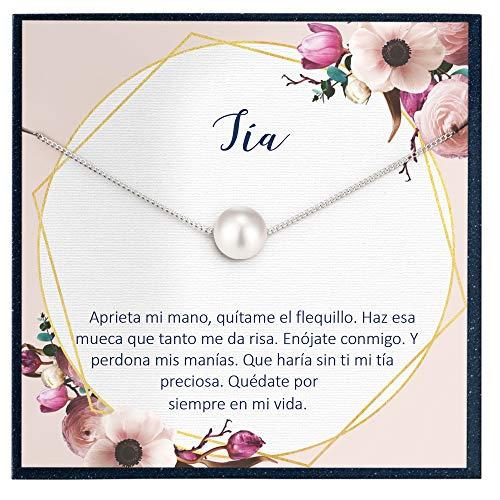Grace of Pearl Collar Regalo para Tía, Joyería, Cumpleaños, Día de la Mujer, Sobrina a Tía Cotización Española Regalo para Tia Regalo en Collar Español