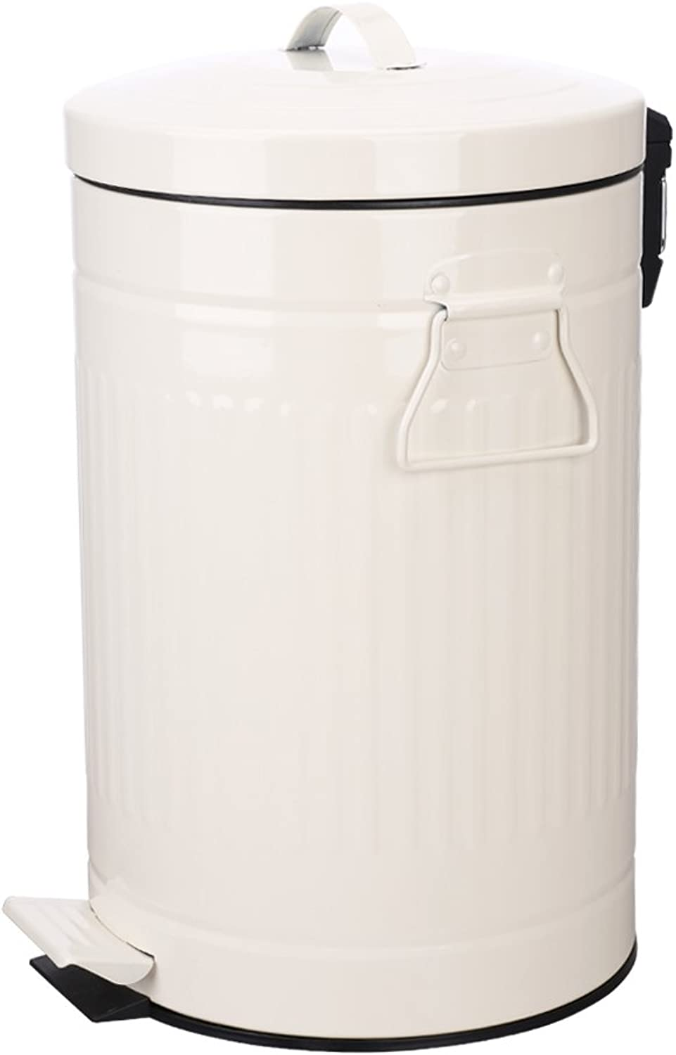 Bathroom Trash Can with Lid, White Bathroom Bedroom Wastebasket Soft Close, Small Retro Vintage Home Garbage Can, Steel Garbage Cans for Office, Foot Pedal Step, Chrome, 12 L   3 Gallon, Glossy White