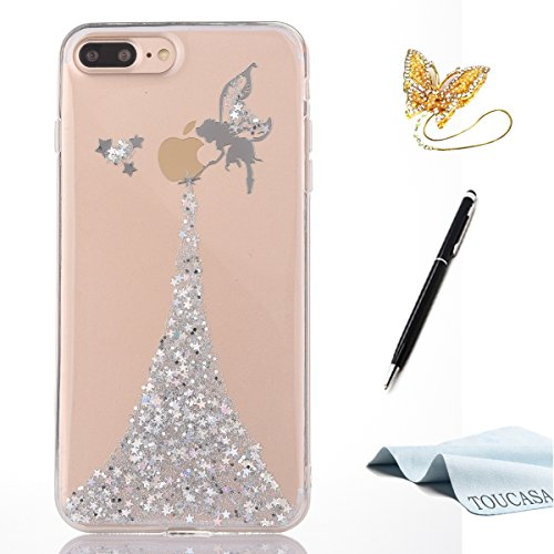 TOUCASA Funda iPhone 8 Plus,Funda iPhone 7 Plus, Glitter Super Delgado y Ligero Transparente TPU Silicona,Funda Móvil Case Brillo, Case Ángel Pequeña Hada Cover para iPhone 8 Plus/iPhone 7 Plus-Plata